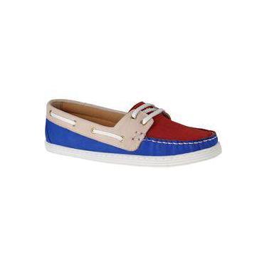 Sapato Mocassim Dockside Feminino Conforto Couro Legítimo L.A. Azul-Bordo-Areia