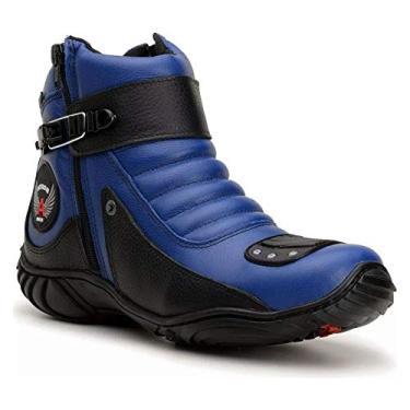 Bota Motociclista Cano Curto Azul e Preto em Couro 304