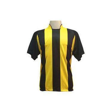1986149950 Uniforme Esportivo com 12 Camisas modelo Milan Preto Amarelo + 12 Calções  modelo Copa Preto Amarelo