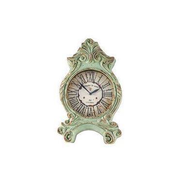 082f761a519 Relógio De Mesa Clássico Paris Verde Em Resina Oldway - 51x32 Cm