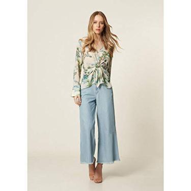 a9239cefd Calça Jeans Pantalona Cropped Delave - 40