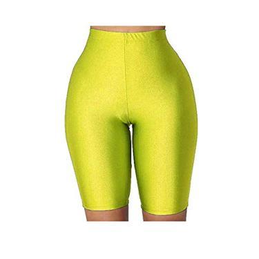 Calça feminina esportiva de verão de cintura alta para academia, ioga, short quente colado ao corpo, Amarelo, P