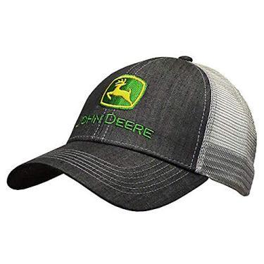 John Deere chapéu de malha nas costas estilo jeans escuro