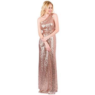 Imagem de Vestido longo de dama de honra EverLove com lantejoulas, vestido de festa de casamento EL-0045, Dourado, 4
