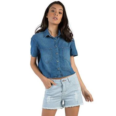 12f2bbafc0 Camisa Croped Jeans Stone STONE M