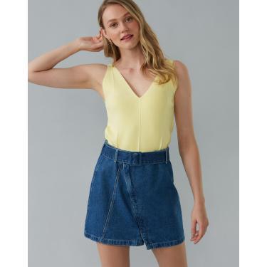 saia jeans curta com fivela forrada e fenda Feminino AMARO AZUL MÉDIO EPP