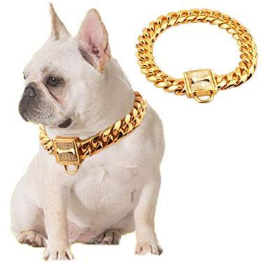 Coleira de corrente dourada para cães DoggyzSTYLE de aço inoxidável 19 mm Coleira de engasgar resistente metal luxuoso para cães grandes e médios Rottweiler, Pitbull