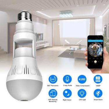 360 ° câmera escondida panorâmica de wifi e27 lâmpada hd 1080p câmera ip segurança bebê pet