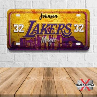 Imagem de Placa De Carro Decorativa Tema Nba -  Lakers Magic Johnson Pdc-036 - P