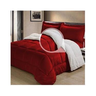Cobertor/Edredom Sherpa Dupla Face  Casal Queen Tipo Lã de Carneiro Noites Quentes Vermelho Cotex