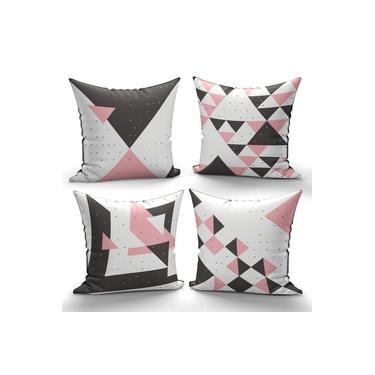 kit 4 almofadas 40x40cm Abstrata Moderna Rosa e cinza