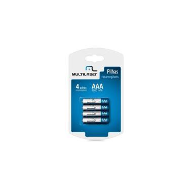 Pilha Recarregável AAA Multilaser CB050 - 1000 mAh - com 4