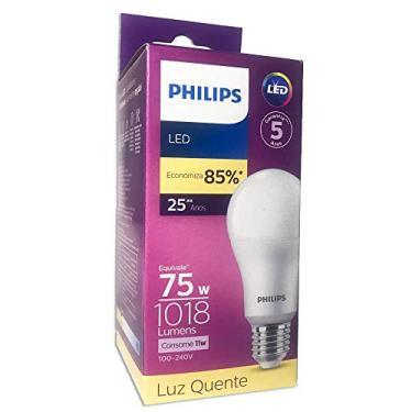 5 Lâmpadas Led Philips Bulbo 11w 1018lm Socket E27 Bivolt Selo Procel e INMETRO Equivale 75w Cor da Luz: Branco Quente 3000K