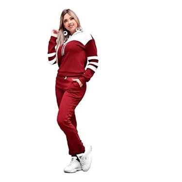 Conjunto Blusa E Calça Feminino Moletom Inverno (G, Vermelho/Branco)