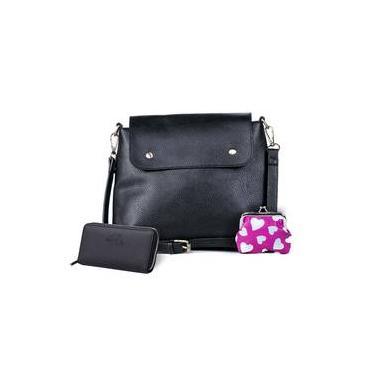 dd87569a3 Bolsa transversal feminina pop preta e vermelho + carteira e porta-moedas  feminina