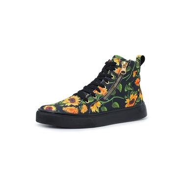 Imagem de Coturno EC Shoes Floral Cano Curto Ziper Lateral