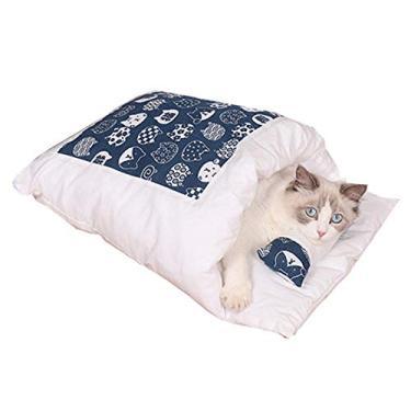 Cama fechada para animais de estimação para gatos ou cães pequenos, cama removível para gatos, suprimento de artesanato para animais de estimação, saco de dormir, tapete quente de inverno para cães e gatos
