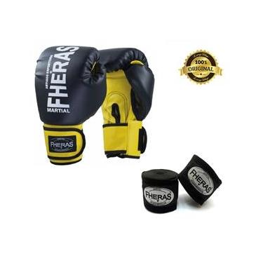 Kit Boxe Muay Thai Fheras New Orion Luva Pr/Am + Bandagem 02