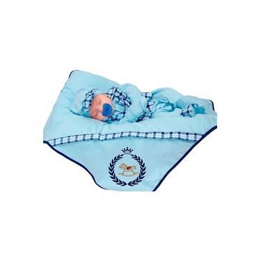 Saída de Maternidade Menino Cavalinho Colete Azul Bebê