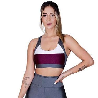 Top Fitness Dily Metalic Malbec Feminino Tamanho:M;Cor:Cinza+Roxo;Gênero:Mulher