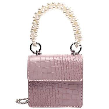 KESYOO Bolsa clutch feminina mini pérola criativa para casamentos, coquetel, festa, transversal, bolsa de corrente para mulheres e meninas (roxa), Roxo claro, 13X12X7CM