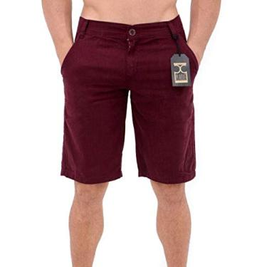 Bermuda Masculina Sarja Shorts Roxo Plaque Cor:Roxo Tamanho:48