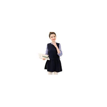 Vestido elegante patchwork falso duas peças de mangas compridas grávida elegante