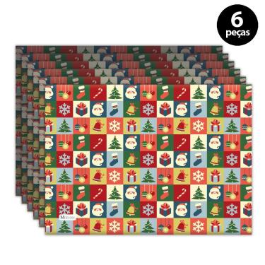 Imagem de Jogo Americano Mdecore Natal Papai Noel 40x28 cm Vermelho 6pçs