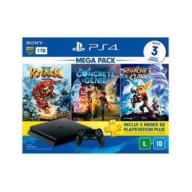Console Playstation 4 Slim 1TB Bundle Family - Knack 2 + Concrete Genie + Ratchet & Clank + PSN Plus 3 Meses