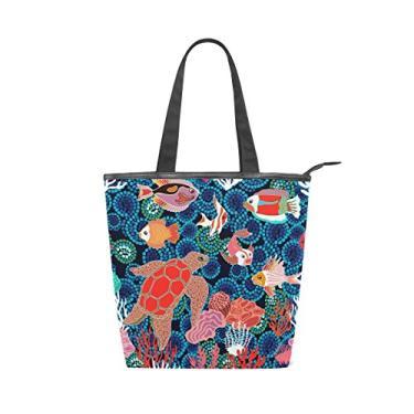 Bolsa feminina de lona durável, feita à mão, peixes, tartaruga marinha, corais, sacola de compras de grande capacidade