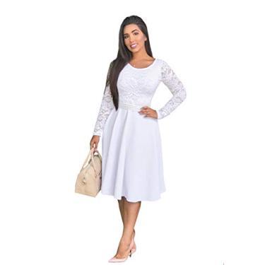 Imagem de Vestido Branco Midi de Noiva Manga Longa Casamento Civil com Cinto (GG)