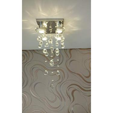 Lustre de Cristal para sala de jantar/estar com 70cm de altura e base de inox 20x20cm