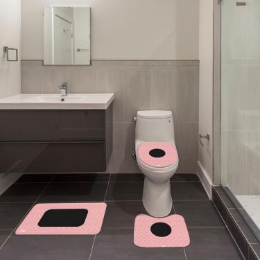 Imagem de Jogo de Banheiro Abstrato Rosa Único