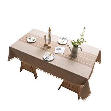 Imagem de MuYiYi11 Toalha de mesa xadrez com borla de costura, capa de mesa para cozinha, sala de jantar, retangular/oblongo, 140 cm x 200 cm, 4-6 assentos nº 4