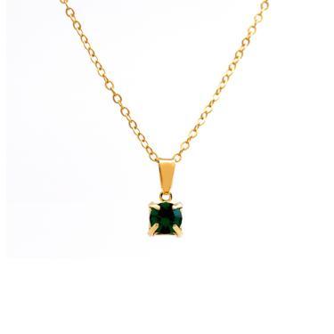 d2212f3065fbc5 Gargantilha Horus Import Ponto Luz Banhado Ouro Amarelo 18 K - 1060158 -  Verde Esmeralda feminino