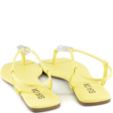 Imagem de Sandália Rasteira Pedrarias Bico Quadrado Sapato Show 13645 Sapato Show Amarelo  feminino