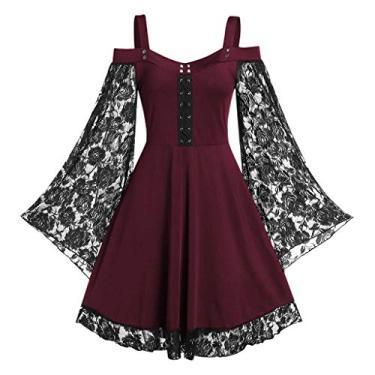 Vestidos góticos para mulheres plus size de renda cruzada camiseta vestido manga borboleta irregular cosplay Chaofanjiancai, G-wine, 5X-Large