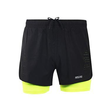 Nishore Men's 2-in-1 Shorts de corrida Rápido Secagem Breathable Active Training Exercício Jogging Ciclismo Shorts com Longer Liner
