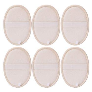 Imagem de 6 peças de toalhas de limpeza ovais esponja natural de banho esponja esfoliante esponja bege