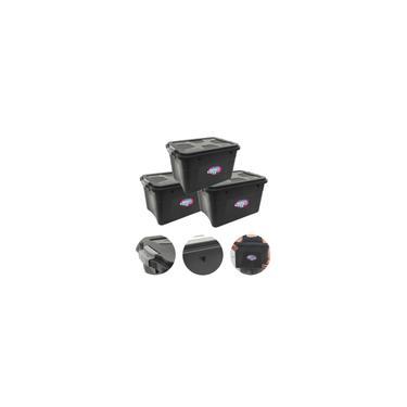 Imagem de Caixa Organizadora Multiuso Plástica 20 Litros Preta Kit com 3 Peças