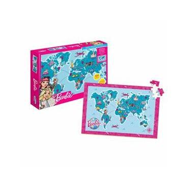 Imagem de Quebra-Cabeça - 100 Peças - Madeira - Barbie - Mapa Mundi Travel - Xalingo