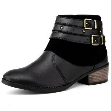 Bota Elegancy Ankle Bootstraps Preto  feminino