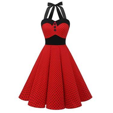 Vestidos de formatura Dressystar vintage com bolinhas retrô para coquetel 50 anos 60 rockabilly Bandage, D-red B, Medium