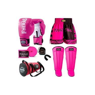 Kit Muay Thai Oríon - Luva Bandagem Bucal Caneleira Bolsa Shorts - Rosa/Branco