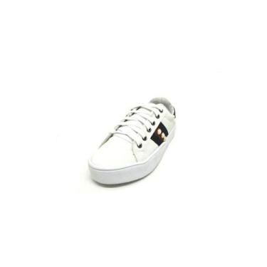 Sapatos Femininos Tenis Casual Branco Com Azul Dani K Tamanho:34;Cor:Branco