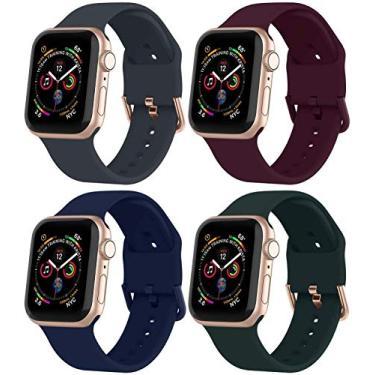 BarRan Pack 4 Pulseira Compatível com Apple Watch Pulseira 38mm 42mm 40mm 44mm, Suave Silicone Esporte Loop Substituição Banda compatível com iWatch Series SE/6/5/4/3/2/1