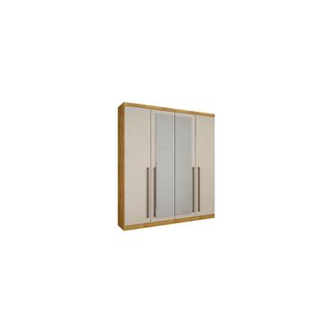 Imagem de Guarda-Roupa Solteiro 4 Portas com Espelho Hannover-Novo Horizonte - Freijo dourado / Off white