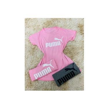t-shirt camisa puma feminina rosa e cinza moda 2020