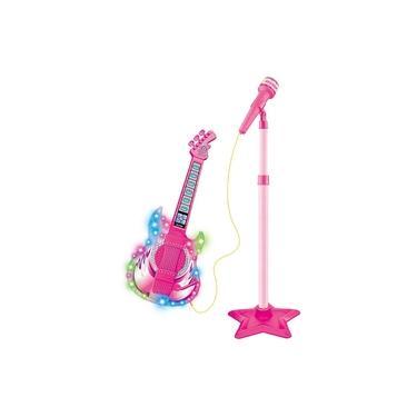 Guitarra com Microfone e Pedestal Infantil Rock Show Rosa - Dm Toys