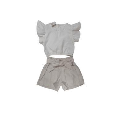 Conjunto Infantil Color Mini Blusa Cropped e Shorts em Linho - Off white